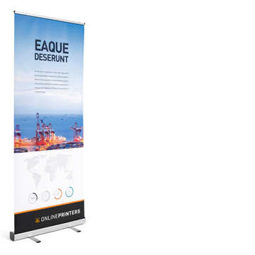 For small budgets:<br>Roller banner economy, 85 x 200 cm