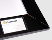 print folders with business cards slits