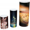 Cylindrical promotional standup, available in 3 different sizes