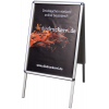 Sturdy foldable aluminium frame (Ill. is similar) with UV-resistant digital print of your motif.