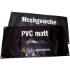 500gsm PVC matt tarpaulins and 300gsm mesh with optional eyelets rounding the banner (as pictured)
