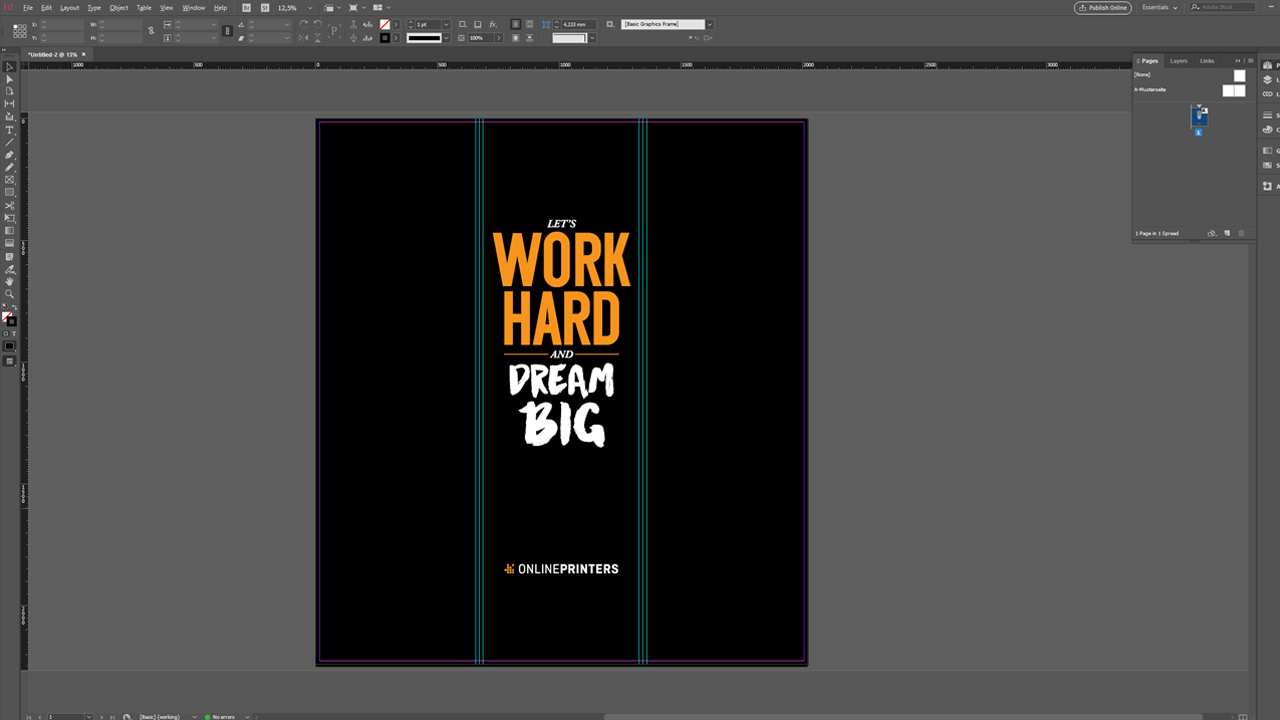 Final version of InDesign template for a pop-up tower with logo and slogan of Onlineprinters
