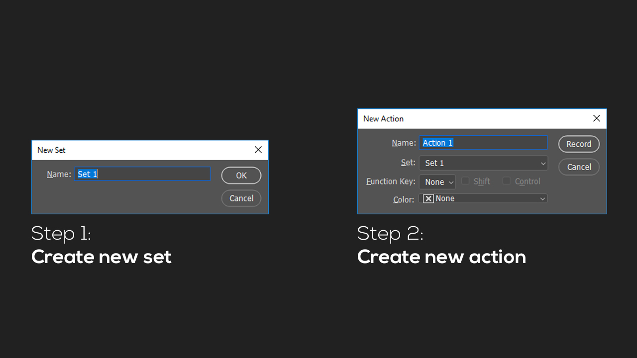 The picture shows the options of the New Set and New Action function