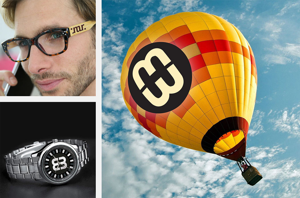 Ambigrams on glasses, the face of a watch, eye-catching hot air balloon design by Roland Scheil, graphic designer