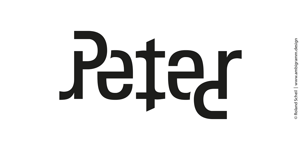 Ambigram design tutorial, version 1, ambigram for the name Peter