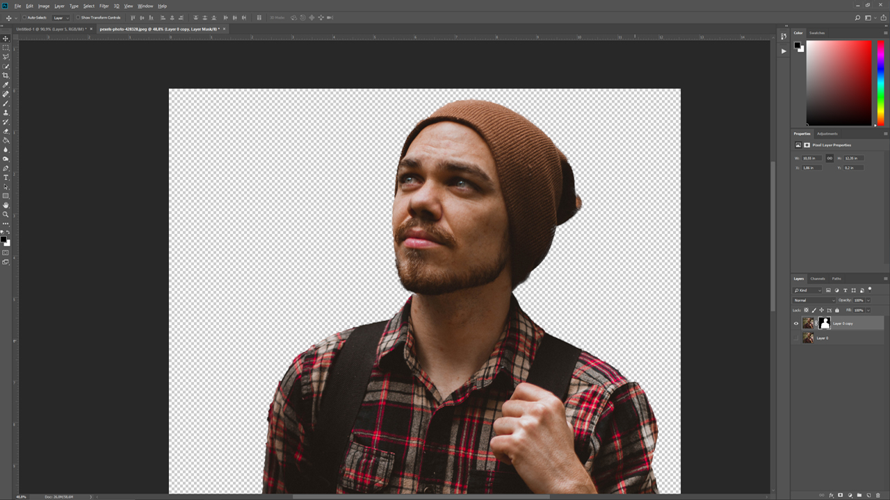 New Layer with Layer Mask creates a new layer and seperates your selection from the rest of the picture