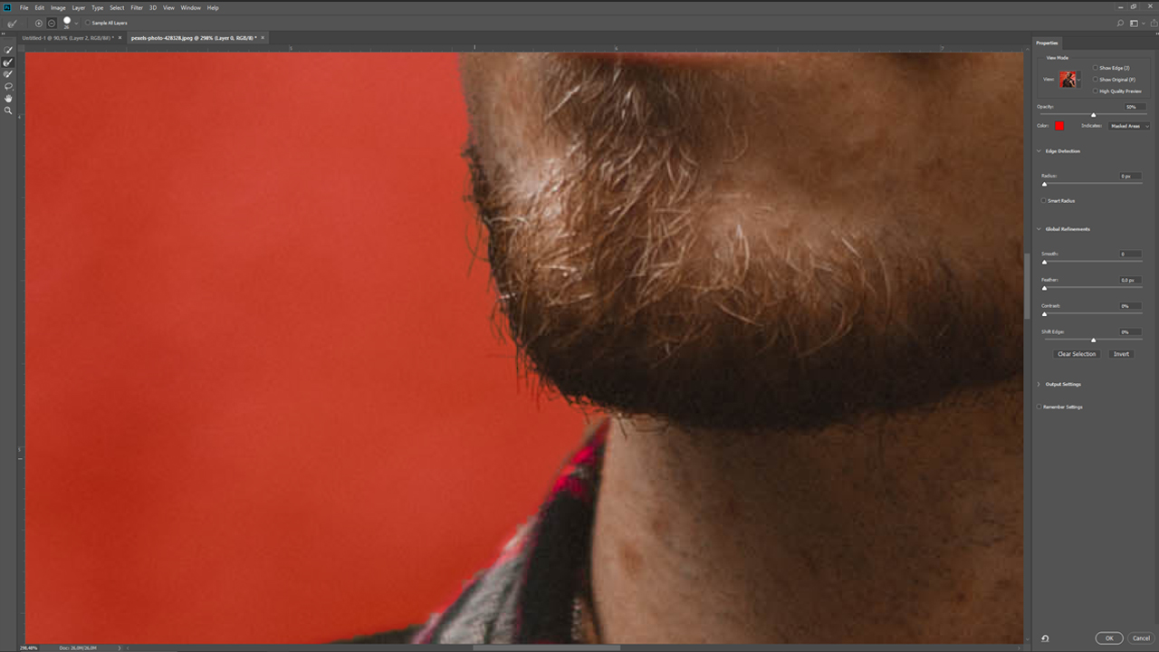 The Refine Edge Tool helps you to select delicate objects such as beard hairs