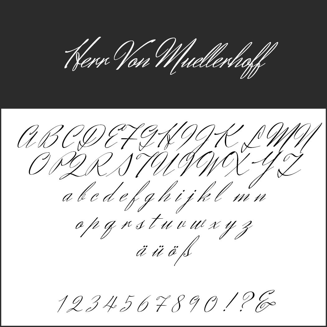 Wedding font Herr von Muellerhoff
