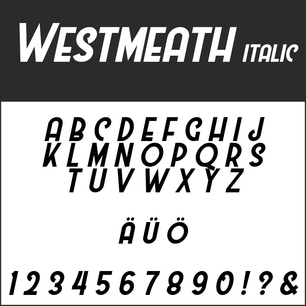 Wedding font Westmeath italic