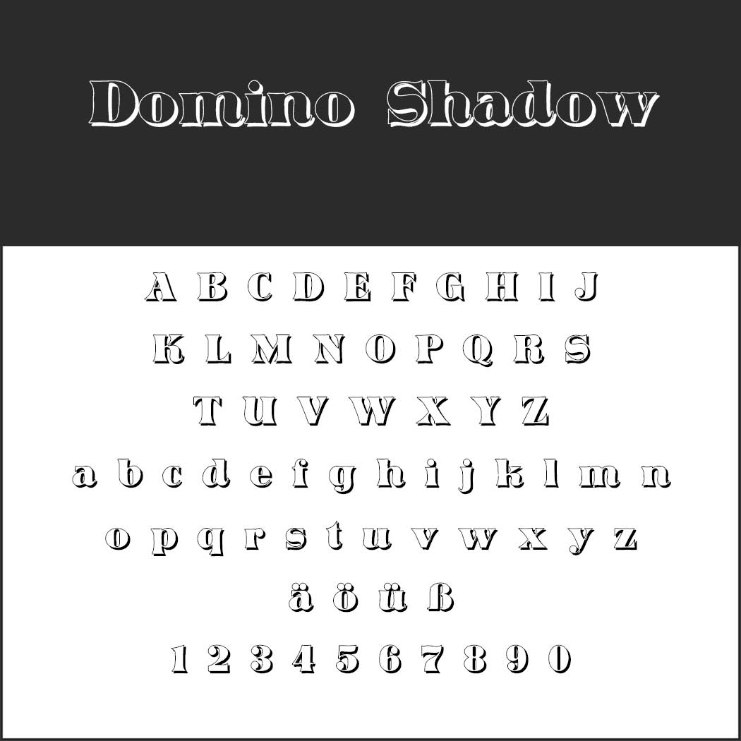 Outlined font Domino Shadow