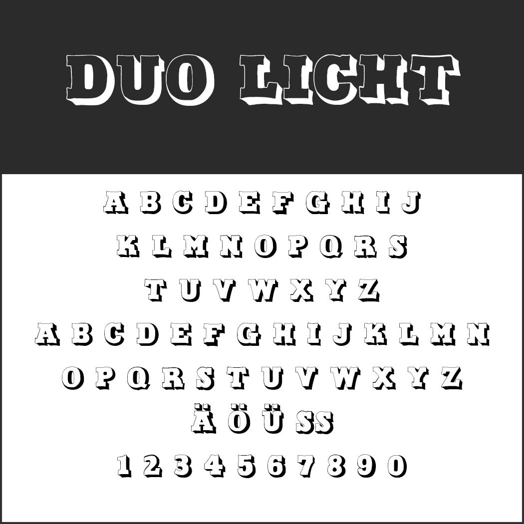Outlined font Duo Licht