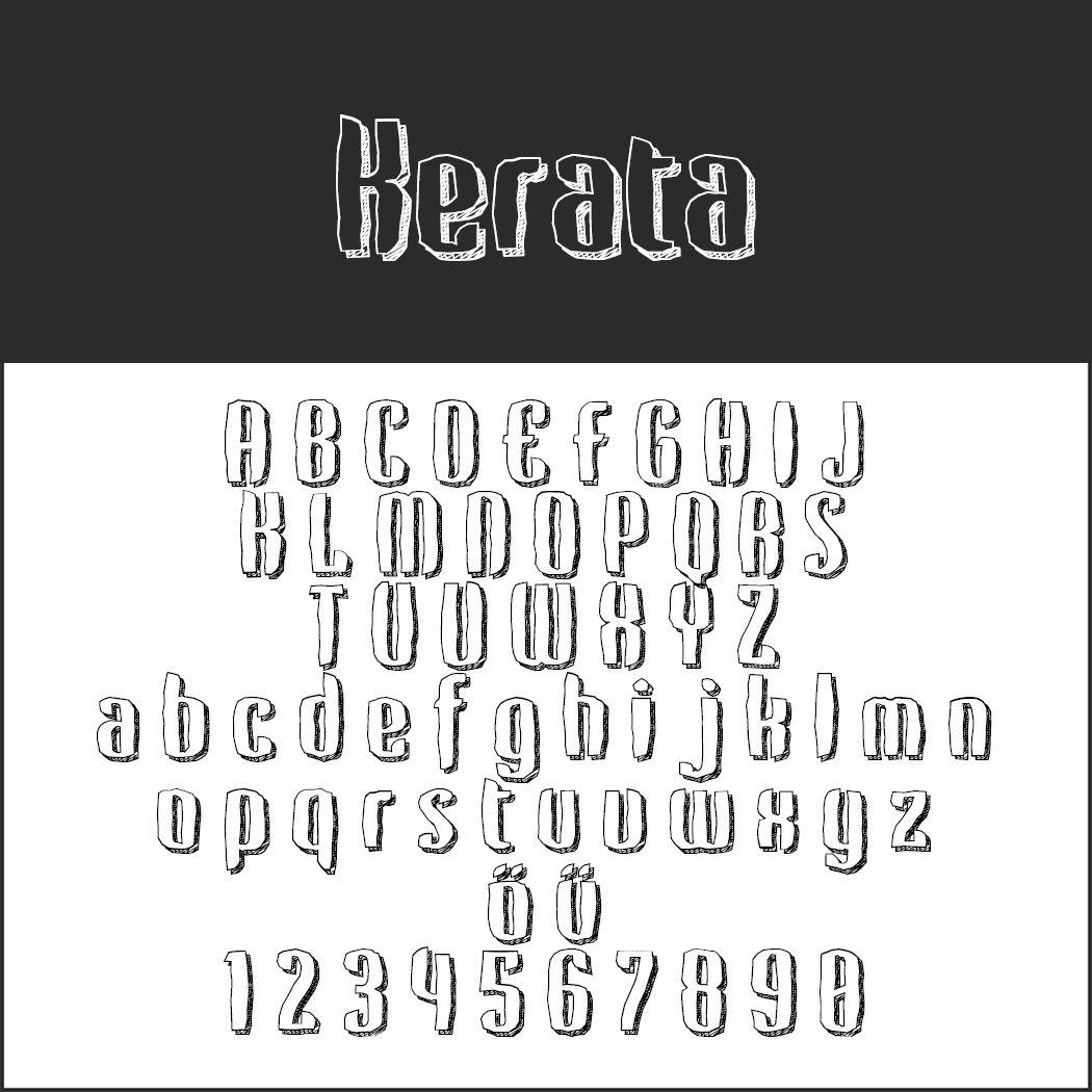 Outlined font Kerata